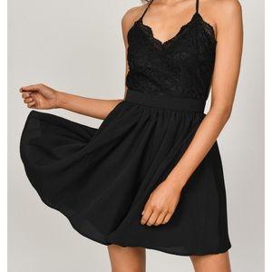 TOBI Mila Black Laced Pleated Skater Dress